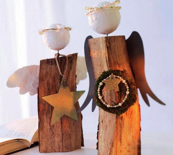 Fiche cr ative anges en b ches de bois brut - Buche de bois decorative ...